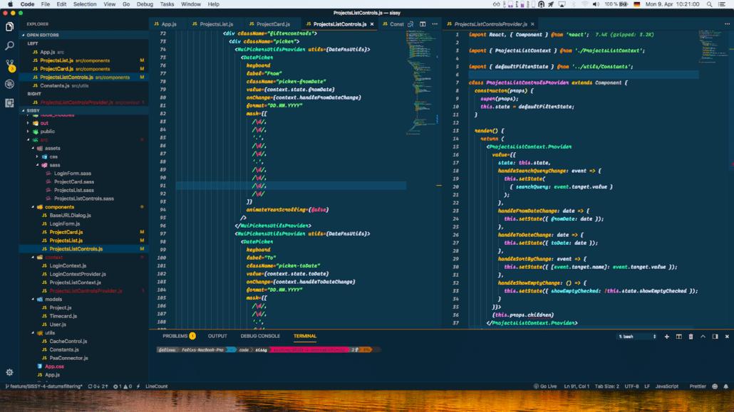 """""""So sieht es aus, wenn ich code. Abgebildet ist ein ReactJS Projekt, also eine dynamische Webseite."""" - Felix"""