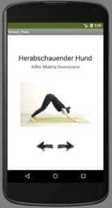 Yoga App Herabschauender hund Asana Unterrichtsmaterial Appentwicklung