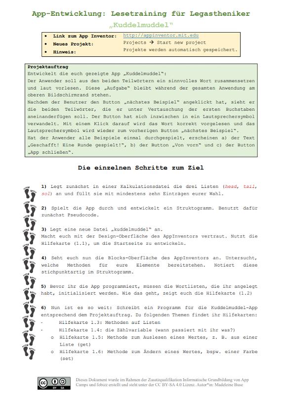 Arbeitsblatt zur App Entwicklung
