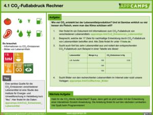 Lernkarte CO2 Fußabdruck Rechner
