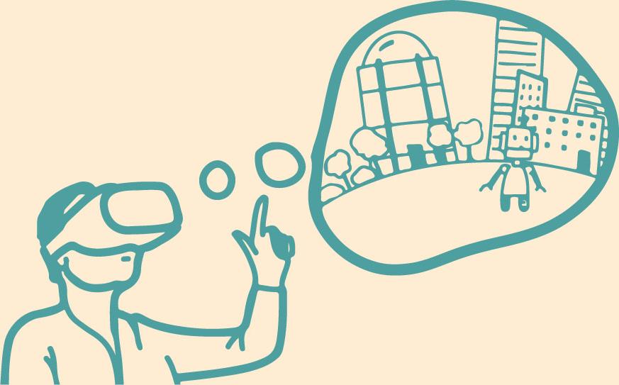 In einer Unterrichtseinheit zum Thema Digitale Nachhaltigkeit, bauen SuS ihre eigene VR-Welt. © Tüftelakademie