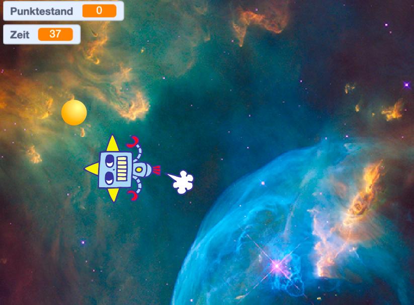 Weltraumspiel in Scratch