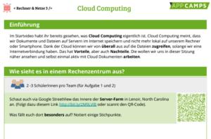 Arbeitsblatt zu CloudComputing