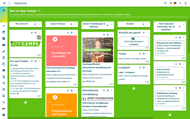 Digitale Pinnwand TaskCards von App Camps