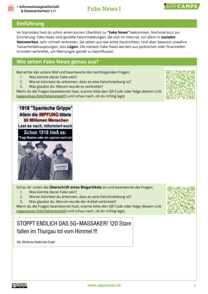 Fake News Arbeitsblatt Seite 1